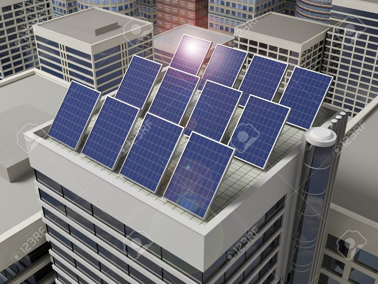 Solar Panels on The Roof of a Skyscraper
