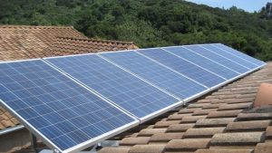 Solar Panels installed on the roof for homes.